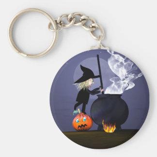 Halloween Witch and Cauldron Basic Round Button Keychain