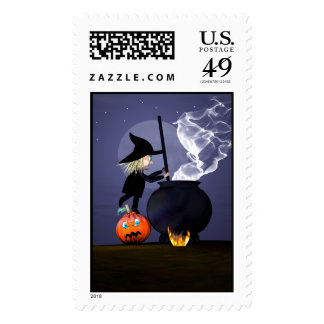 Halloween Witch and Cauldron Stamp