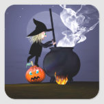 Halloween Witch and Cauldron Square Stickers
