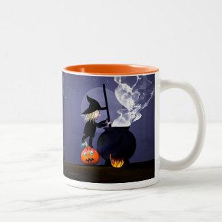 Halloween Witch and Cauldron Two-Tone Coffee Mug