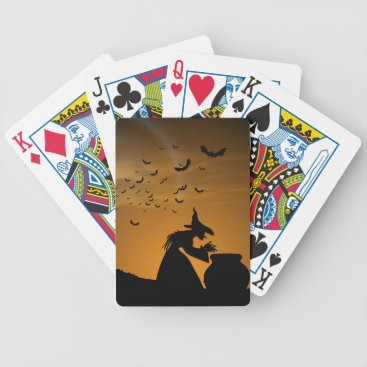 Halloween Themed Halloween Witch and Cauldron with Bats Bicycle Playing Cards