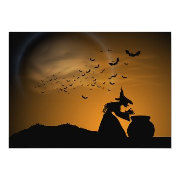 Halloween Themed Halloween Witch and Cauldron with Bats Card