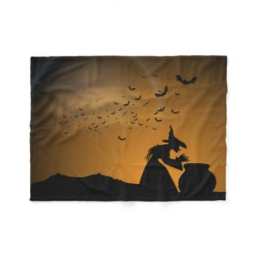Halloween Themed Halloween Witch and Cauldron with Bats Fleece Blanket