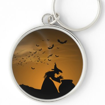 Halloween Themed Halloween Witch and Cauldron with Bats Keychain