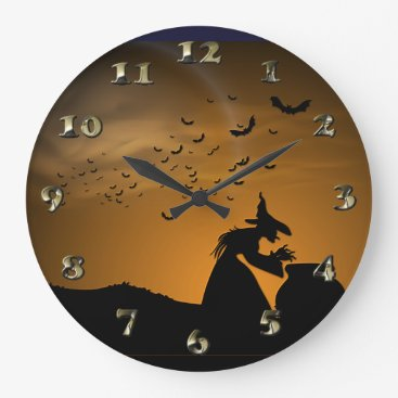Halloween Themed Halloween Witch and Cauldron with Bats Large Clock