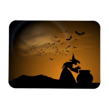 Halloween Themed Halloween Witch and Cauldron with Bats Magnet