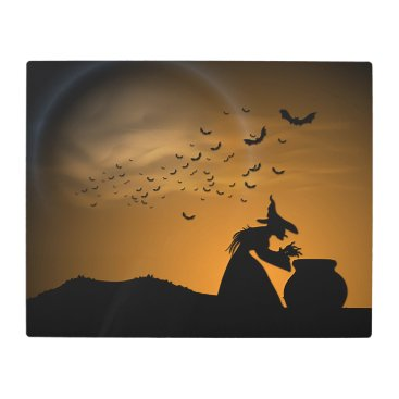 Halloween Themed Halloween Witch and Cauldron with Bats Metal Print