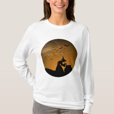 Halloween Themed Halloween Witch and Cauldron with Bats T-Shirt
