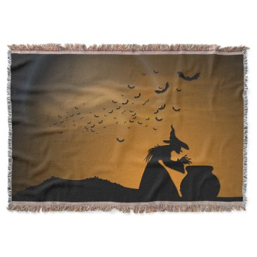 Halloween Themed Halloween Witch and Cauldron with Bats Throw Blanket