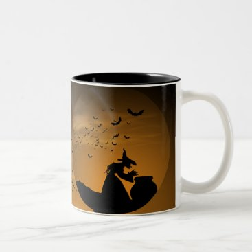 Halloween Themed Halloween Witch and Cauldron with Bats Two-Tone Coffee Mug
