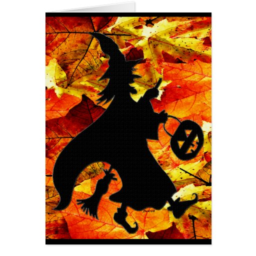 Halloween Witch and Fall Leaves Greeting Card