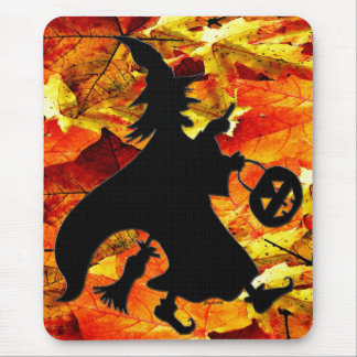 Halloween Witch and Fall Leaves Mouse Pad