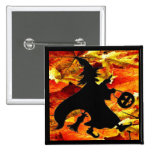 Halloween Witch and Fall Leaves Pinback Buttons