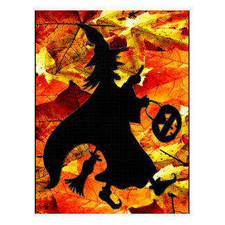 Halloween Witch and Fall Leaves Postcard