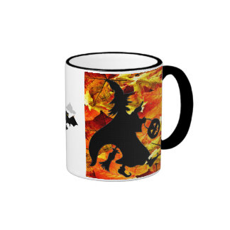 Halloween Witch and Fall Leaves Ringer Mug