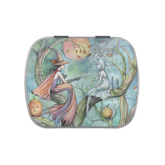 Halloween Witch and Ghost Fantasy Art Jelly Belly Tins