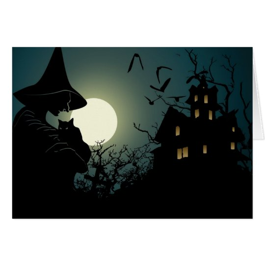 Halloween: witch and hounted house card