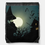 Halloween: witch and hounted house cinch bags