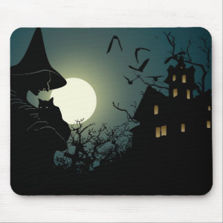 Halloween: witch and hounted house mouse pad