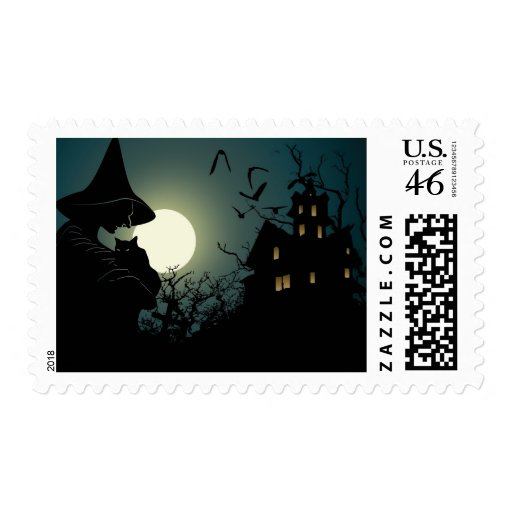 Halloween: witch and hounted house postage stamp