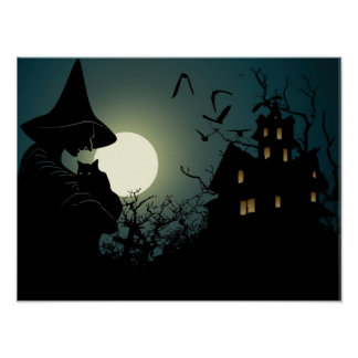 Halloween: witch and hounted house poster