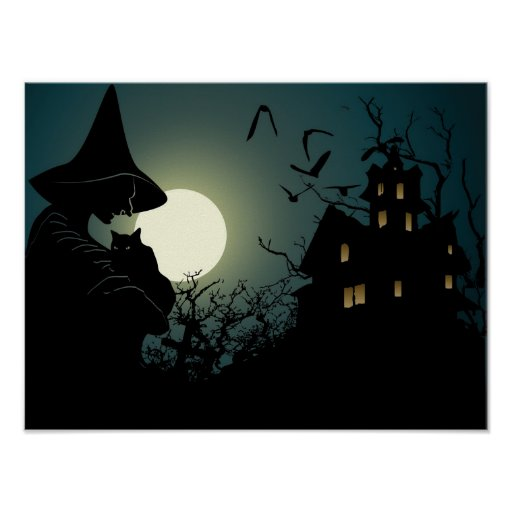 Halloween: witch and hounted house print