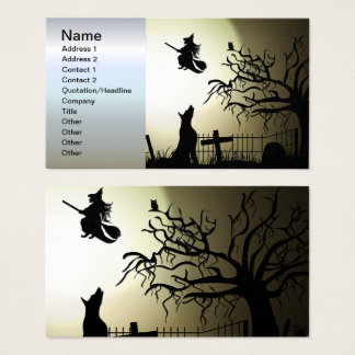 Halloween Witch and Howling Dog Business Card