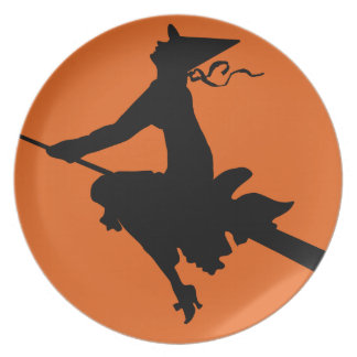 Halloween Witch and Moon Plate