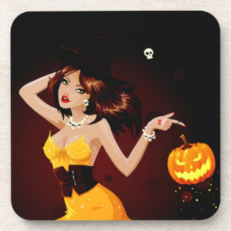 Halloween Witch and Pumpkin Drink Coaster