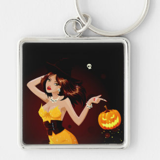 Halloween Witch and Pumpkin Silver-Colored Square Keychain