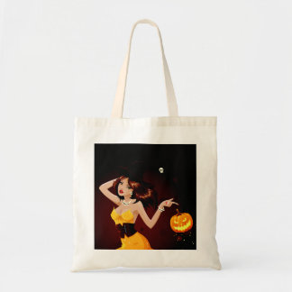 Halloween Witch and Pumpkin Tote Bag