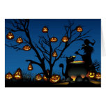 Halloween witch and pumpkins card