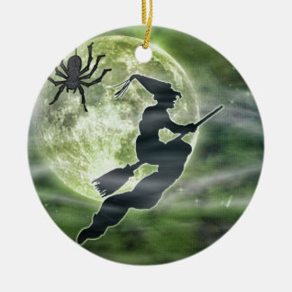 Halloween Witch and Spider Ceramic Ornament