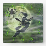 Halloween Witch and Spider Square Green Square Wall Clock