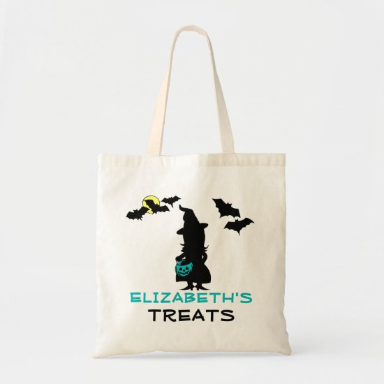 Halloween Witch and Teal Pumpkin Treat Bag