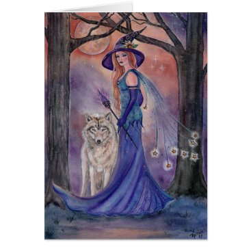 Halloween Themed Halloween witch and wolf card by Renee Lavoie