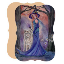 Halloween witch and wolf invitations by Renee