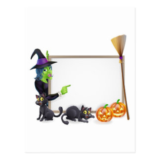 Halloween witch background sign postcards