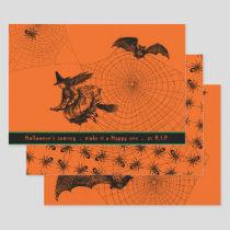 Halloween Witch Bat Spider 3-pc Paper Sheet Set