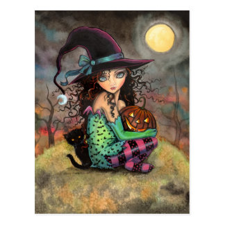 Halloween Witch Black Cat and Jack-O-Lantern Post Card