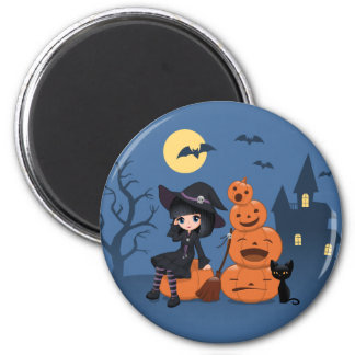 Halloween Witch, Black Cat, and Pumpkins 2 Inch Round Magnet