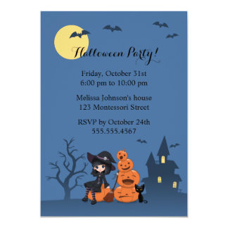 """Halloween Witch, Black Cat, and Pumpkins Party 5"""" X 7"""" Invitation Card"""