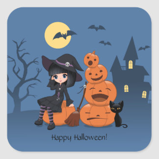 Halloween Witch, Black Cat, and Pumpkins Square Sticker