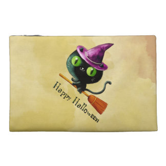 Halloween Witch Black Cat Travel Accessories Bag