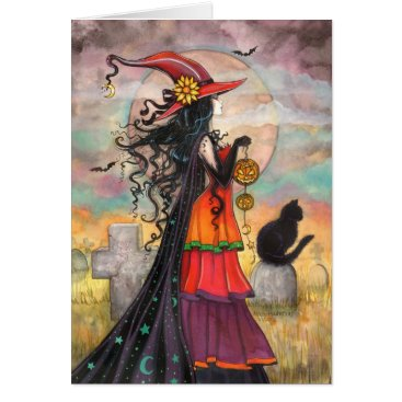 Halloween Themed Halloween Witch Black Cat Graveyard Fantasy Art Card