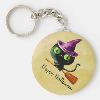 Halloween Witch Black Cat Basic Round Button Keychain