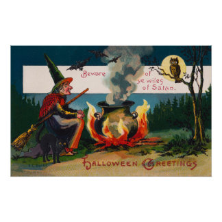 Halloween witch black cat owl party decor poster