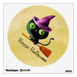 Halloween Witch Black Cat Wall Sticker