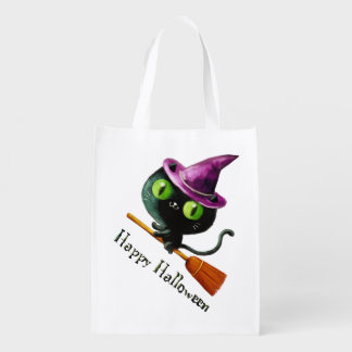 Halloween Witch Black Cat Grocery Bags