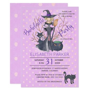 Halloween Themed Halloween witch black cats bachelorette party card